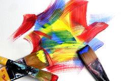 Vivid strokes and paintbrushes Stock Photos