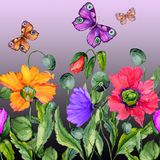 Vivid summer background. Beautiful colorful poppy flowers and flying butterflies on purple background. Square shape. Seamless floral pattern. Watercolor stock illustration