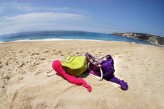 Vivid summer bags on the beach Royalty Free Stock Image