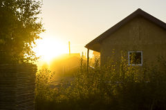 Vivid sundown light in village Stock Photo