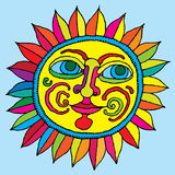 Vivid sunflower hand drawing. Vivid sunflower with eyes, nose, mouth and cheeks hand drawing Stock Photos
