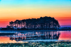 Vivid Sunrise on Black Duck Pool royalty free stock images