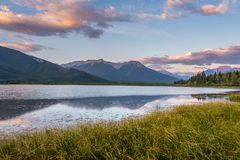 A vivid sunrise over Vermilion Lakes stock image