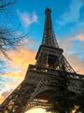 Vivid sunset clouds highlight the Eiffel Tower, Paris, France Stock Image