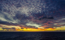 A vivid sunset in the Indian ocean. A colourful vivid sunset in the Indian ocean Royalty Free Stock Photography
