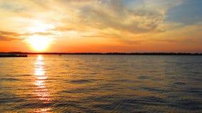 A vivid sunset on lake Erie Stock Photos