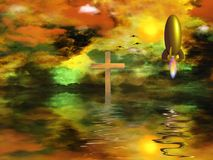 Faith. Vivid sunset over water. Cross and rocket Royalty Free Stock Images