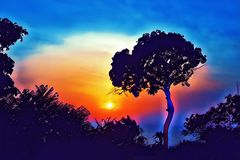 Vivid sunset sky with tree silhouette digital illustration. Summer travel on tropical island. Royalty Free Stock Photos