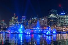SYDNEY, AUSTRALIA - MAY 25, 2018; Vivid Sydney Annual Festival of light. Vivid Sydney Annual Festival of light. Spectacular water and light show in Darling royalty free stock images