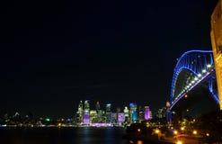 Vivid Sydney 20016. Sydney, Australia - Jun 15, 2016. Sydney Harbour Bridge illuminated with colourful light design imagery during the Vivid Sydney 2016 annual Stock Photography