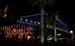 Vivid Sydney 20016. Sydney, Australia - Jun 15, 2016. Sydney Harbour Bridge illuminated with colourful light design imagery during the Vivid Sydney 2016 annual Stock Photos
