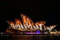 Vivid Sydney: A Festival of Light, Music. SYDNEY, AUSTRALIA - June 3: Sydney Opera House shown during Vivid Sydney: A Festival of Light, Music Royalty Free Stock Photo