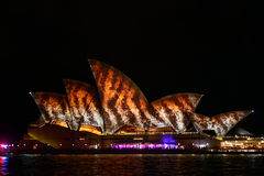 Vivid Sydney: A Festival of Light, Music. SYDNEY, AUSTRALIA - June 3: Sydney Opera House shown during Vivid Sydney: A Festival of Light, Music & Ideas on May 25 Stock Photos
