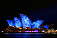Vivid Sydney: A Festival of Light, Music. SYDNEY, AUSTRALIA - June 3: Sydney Opera House shown during Vivid Sydney: A Festival of Light, Music & Ideas on May 25 Stock Images
