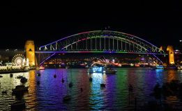 Vivid Sydney and harbour views from Lavender Bay Stock Photo