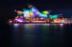 Vivid Sydney at the Opera House in Sydney. Sydney, Australia -May 25, 2018: Vivid Sydney Festival in Sydney Harbour, Australia. For the 10th year Anniversary the Stock Photos