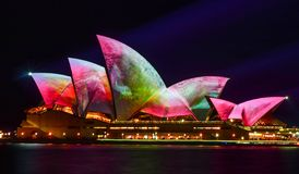 Vivid Sydney, Sydney Opera House with colourful images. Vivid Sydney Festival, beautiful imagery projected onto the Sydney Opera House during Vivid annual royalty free stock images