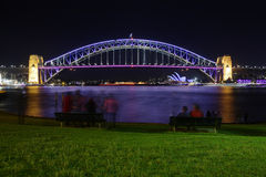 Vivid Sydney - Sydney Harbour Bridge in colour at night Royalty Free Stock Image