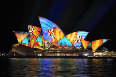 Vivid Sydney, Sydney Opera House with colourful butterfly imager. SYDNEY, AUSTRALIA - JUNE 2, 2014;  Vivid Sydney Festival, beautiful butterfly imagery projected