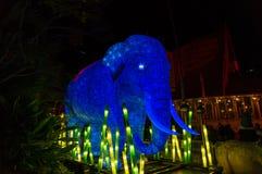 Vivid Sydney at Taronga Zoo Asian elephant light sculpture Stock Images
