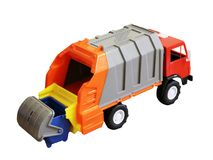 Vivid toy garbage truck from plastic isolated on white background stock photos