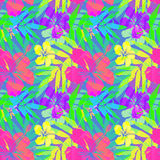 Vivid tropical flowers and leaves vector seamless Royalty Free Stock Photo