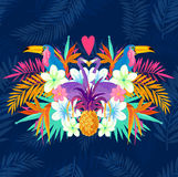 Vivid Tropical Love. Tropic elements including flamingo, Palms, Toucans, Bird of paradise flowers and pineapples Royalty Free Stock Photos