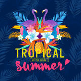 Vivid Tropical Love. Tropic elements including flamingo, Palms, Toucans, Bird of paradise flowers and pineapples royalty free illustration