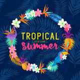 Vivid Tropical Wreath. Including flamingo, Palms, Toucans, Bird of paradise flowers and pineapples royalty free illustration