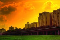 Vivid urban sunset scene Stock Images