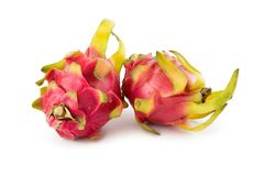 Vivid and Vibrant Dragon Fruit isolated on white background.  Royalty Free Stock Images