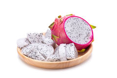 Vivid and Vibrant Dragon Fruit isolated on white background Stock Images