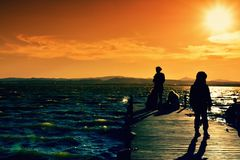 Vivid view on pier with waterscape Royalty Free Stock Photos