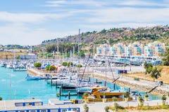 Vivid view of the Porto de Abrigo de Albufeira, Albufeira Bay in Albufeira, PortugalVivid view of the Porto de Abrigo de Albufeira royalty free stock images