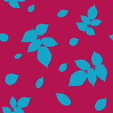 Vivid wine and blue colored seamless pattern with raspberry leaves. Stock Photography