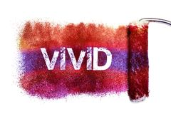 The vivid word painting. Color full on white paper by roll painter,isolated Stock Photography