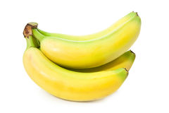 Vivid yellow bananas. Bunch of perfectly looking bananas isolated on white background Stock Photo