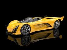 Vivid yellow futuristic concept race car Royalty Free Stock Photos