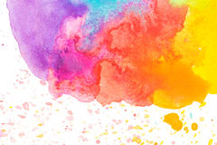 Vivid yellow orange red blue purple watercolor background Stock Images