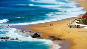 Vivid yellow sand and rocks on coastline, Portugal Stock Photos