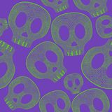 Vividl skulls on purple background - seamless psychedelic pattern Stock Photography