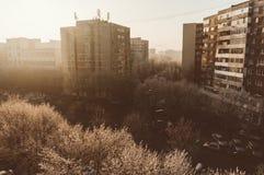 Vivienda de la ciudad con efectos del vintage Imagenes de archivo
