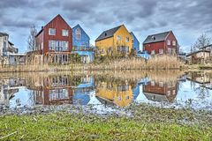 Vivienda escandinava del estilo en los Países Bajos fotografía de archivo libre de regalías