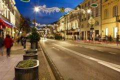 Vivienda suntuosa iluminada en Nowy Swiat Foto de archivo