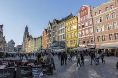 Viviendas en vieja plaza del mercado en Wroclaw Fotografía de archivo libre de regalías