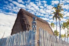 Viviendas hawaianas del tejado cubierto con paja Imagen de archivo libre de regalías