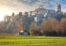 Viviers Cityscape in the Dawn morning Light. Viviers Cityscape in the atmospheric Dawn Light and dew drops on the meadow France Royalty Free Stock Photos