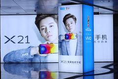 Vivo X21  mobile phone advertising. Vivo is a mobile phone product that focuses on the field of smart phones. In May 2017, vivo announced that with the Royalty Free Stock Photos