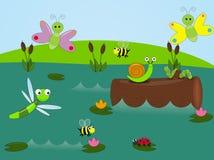 Vivre dans l'étang illustration stock