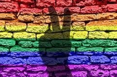 Vivtory firma encima la bandera de la pared del arco iris LGBT imagen de archivo